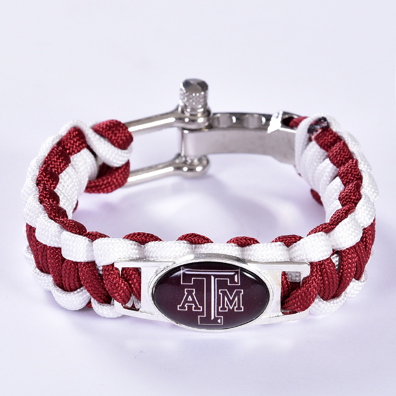 Texas A&M Aggies Custom Paracord Bracelet NCAA College Football Charm Bracelet Survival Bracelet , Drop Shipping! 6Pcs/lot!
