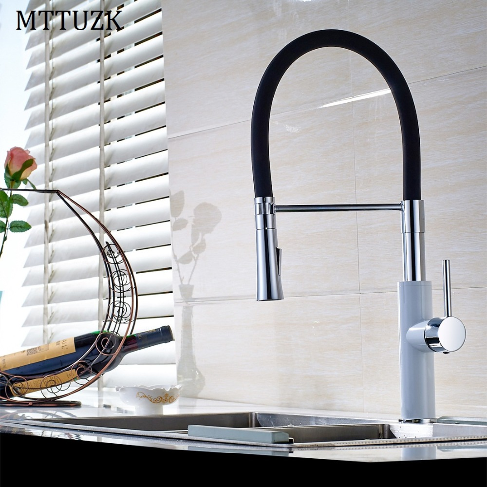MTTUZK Black and White Brass Kitchen Sink Faucet Deck Mount Pull Down Dual Sprayer Nozzle Hot Cold Mixer Water Tap Coppoer Crane kitchen chrome plated brass faucet single handle pull out pull down sink mixer hot and cold tap modern design