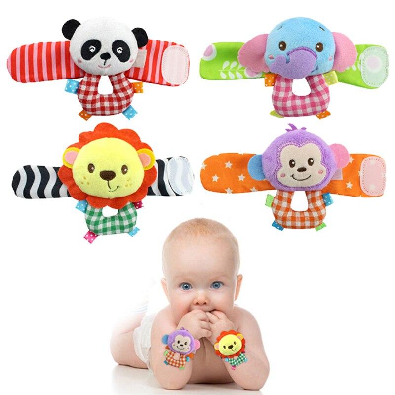 2 Stks/set Cartoon Baby Speelgoed Dier Mobiele Baby Rammelaar Pasgeboren Baby Peuter Pluche Polsband Met Rammelaar Sokken Bed Speelgoed