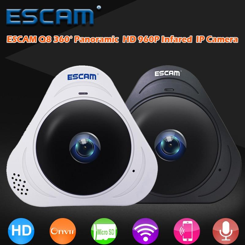 цена на ESCAM Q8 360 Degree Fisheye Wifi IR Infrared Camera HD 960P 1.3MP VR IP Camera 2 Way Audio Motion Detector Support 128G Card