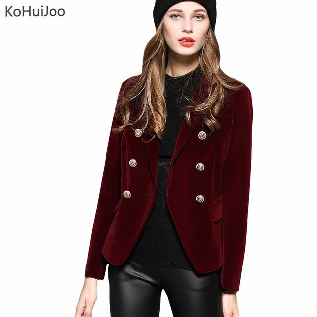 KoHuiJoo 2018 осень зима женские блейзеры с длинным рукавом Золотая пуговица тонкие женские бархатные куртки и пальто черный винный красный M-2XL