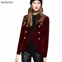 KoHuiJoo 2019 Spring Autumn Women's Blazers Long Sleeve Golden Button Slim Lady Velvet Jackets and Coats Black Wine Red M 2XL