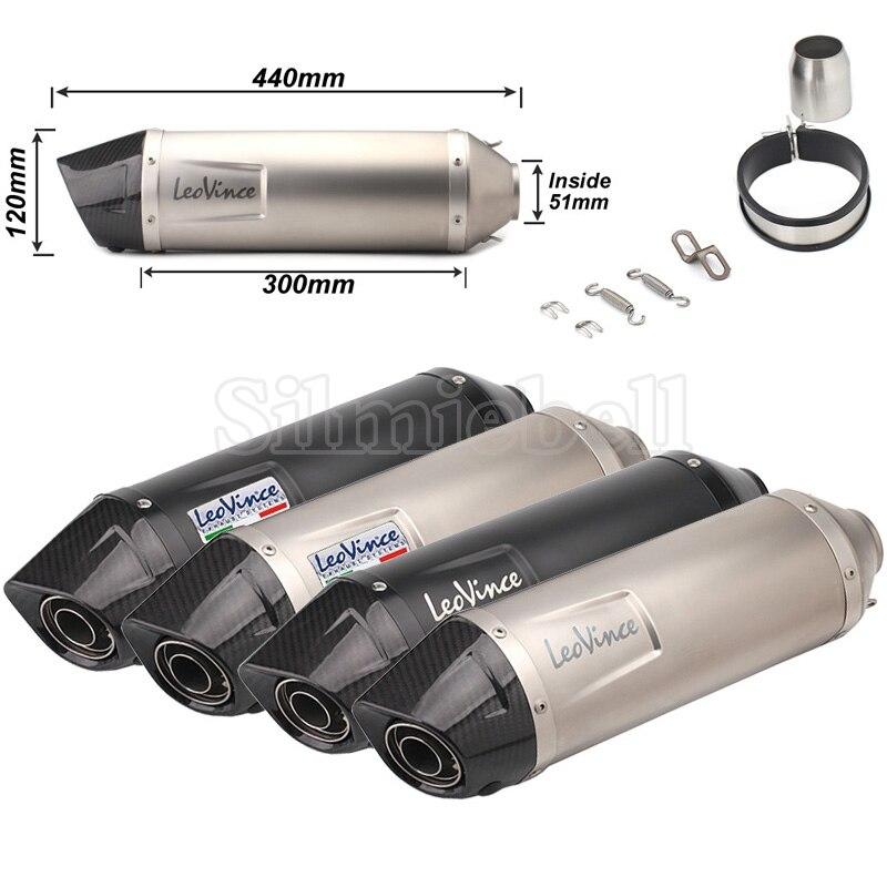 Pour Benelli TRK502 MSX125 CRF230 aerox vespa 51mm entrée universelle moto LeoVince pot d'échappement tuyau en Fiber de carbone Pitbike
