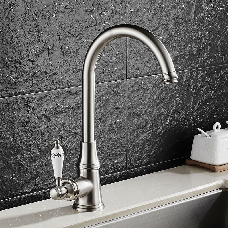 New Arrival hot and cold single lever hot and cold kitchen faucet Swivel antique bronze Kitchen mixer Water tap sink faucet free shipping new style black bronze copper folding kitchen faucet double handles for cold and hot water mixer xt509