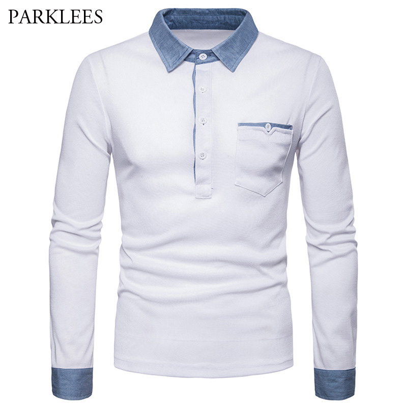 2018 Denim Patchwork Polo Shirt Men Turn-down Collar Long Sleeve Male Polos With Pocket Solid Color Polo Homme Mens Top Shirt