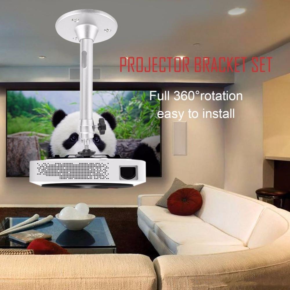 Mini Projector Bracket 360 Degree Swivel Mount Holder Projector Bracket Set Hot Aluminum Alloy + Plastic Silver Wall Ceiling