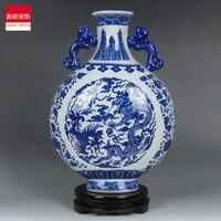 Shipping room of Jingdezhen porcelain ceramic vase modern blue and white decoration Home Furnishing dragon