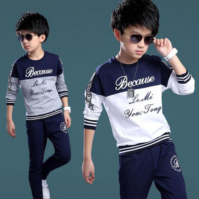fb7933694 Summer Spring Boys Tracksuit Casual Boy Clothing Set Handsome Kids ...