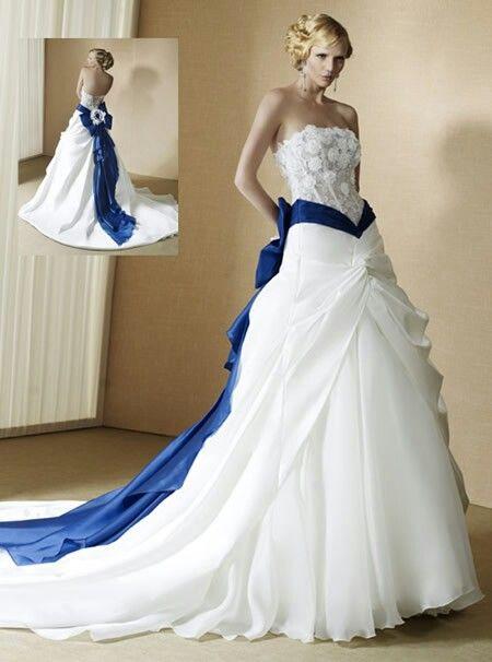 fcd2efe0f040 Vimans Elegante Senza Bretelle Blu e Bianco Abiti Da Sposa con Pizzo  Applique Blu Sash Handmade