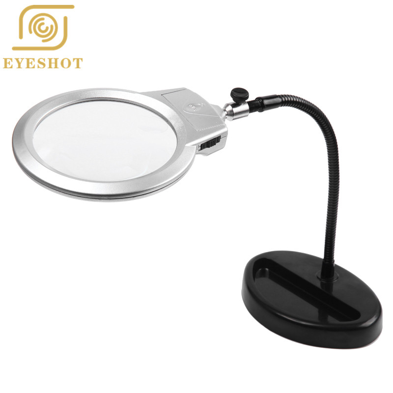 Worldwide Standing Style Helping Magnifying Tool Repair Tools Magnifier Glass With LED Light 2 25X 5X