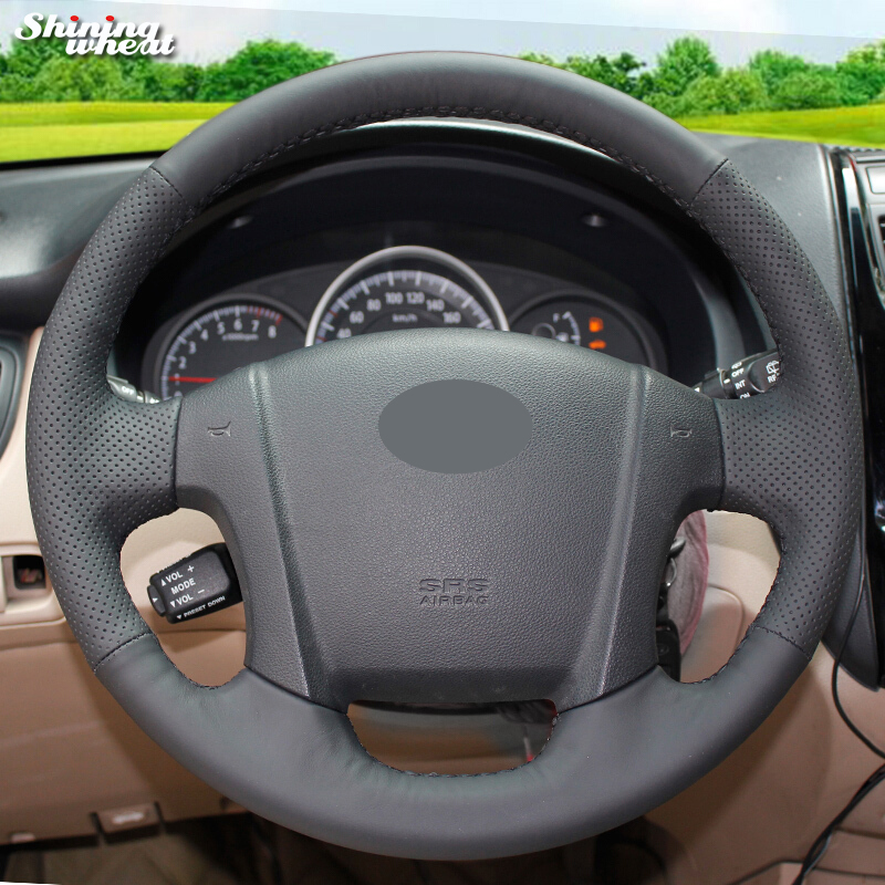Shining wheat Black Genuine Leather Steering Wheel Cover for Kia Sportage 2 2005-2010 2009 Sportage