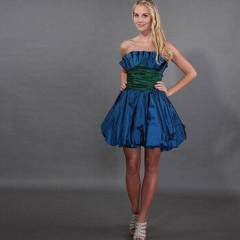 cc1862be05d Mini Vestidos De cóctel corto sin tirantes plisados cintura imperio azul  marino tafetán Vestidos De fiesta hechos a medida Vestidos De Coctel