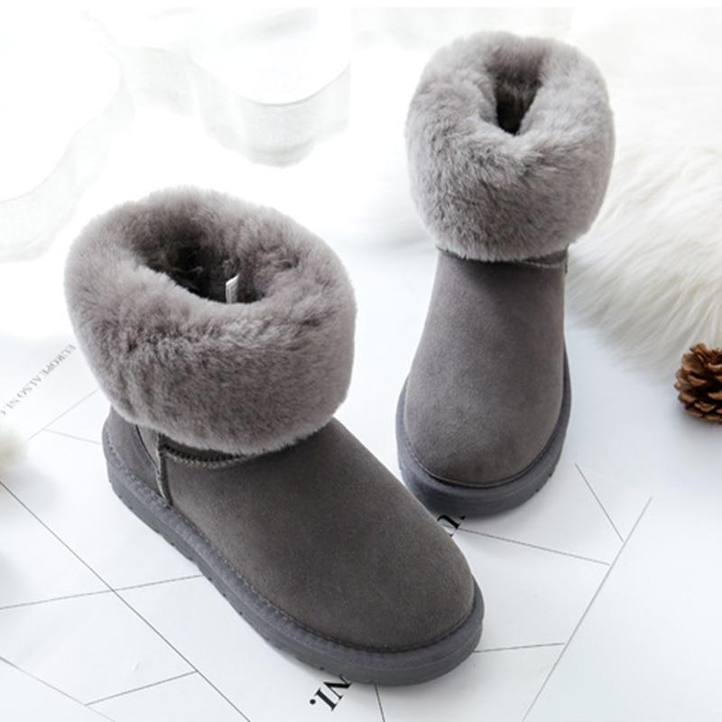Chaussures Femelle Chaud En 2 Furry Eskimo De slip 5 Gris 4 Neige Fourrure Naturel Bottes Peau 1 Suède Mouton Réel Brun Mi 3 2018 mollet Non D'hiver Appartements HdfqYwxtt