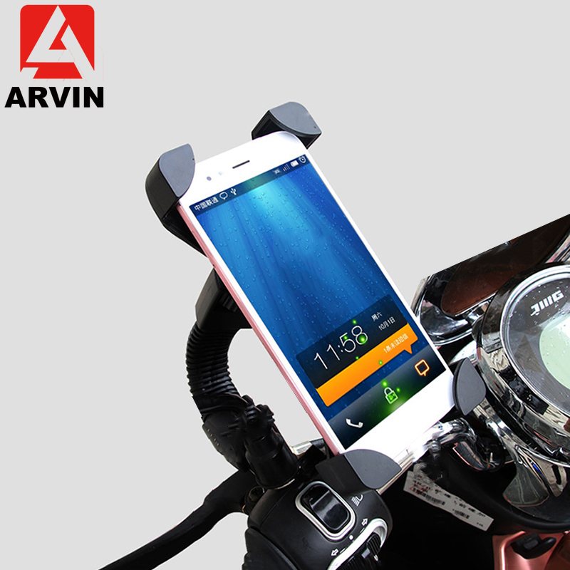 ARVIN Motorcycle Cell Phone Holder For iPhone X 8P Sangsung S8 S9 Moto Mobile Phone 360 Degree Rotation GPS Stand Bracket Mount|Phone Holders & Stands| |  - title=