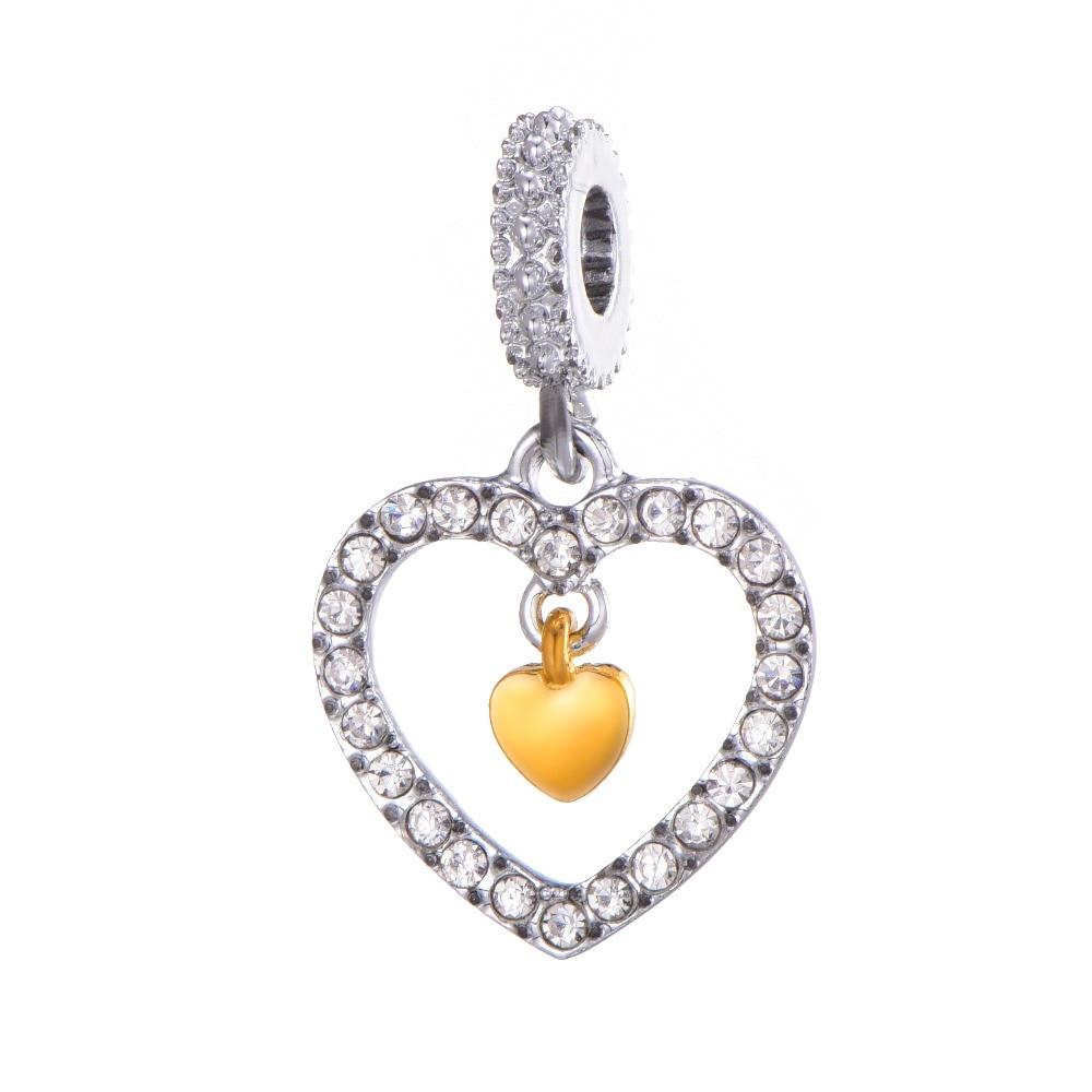 Silver Color Heart shape Beads Pendant Fit Pandora Charm