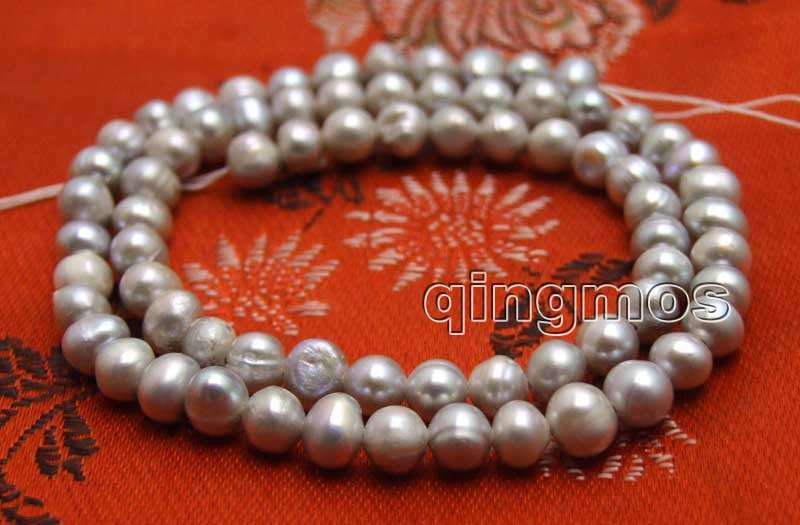 Small 5-6mm Gray Round Natural Freshwater Pearl Loose Beads Strand 14''-los752 Wholesale/retail