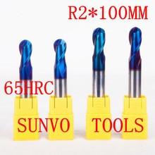 5 pz/set R2x100MM 4 MILLIMETRI HRC45 HRC50 HRC55 HRC60 HRC65 CNC Tungsteno sfera In Metallo Duro naso Fine Macinapepe A Spirale Bit CNC fresa Punte del Router