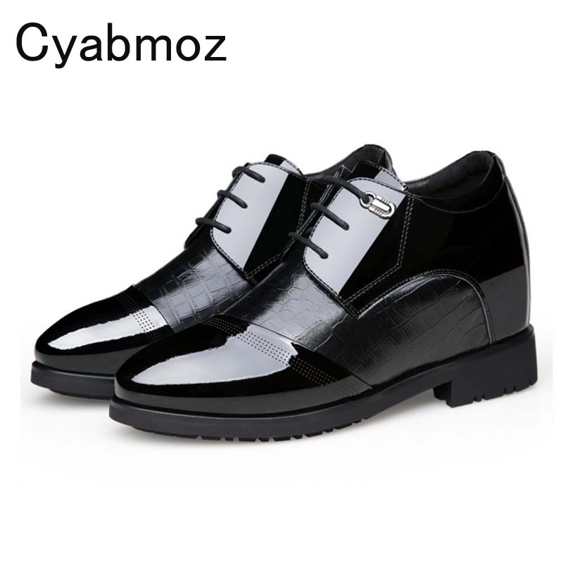 Invisible Inside height increase mens patent leather dress shoes lace up business casual shoes men office