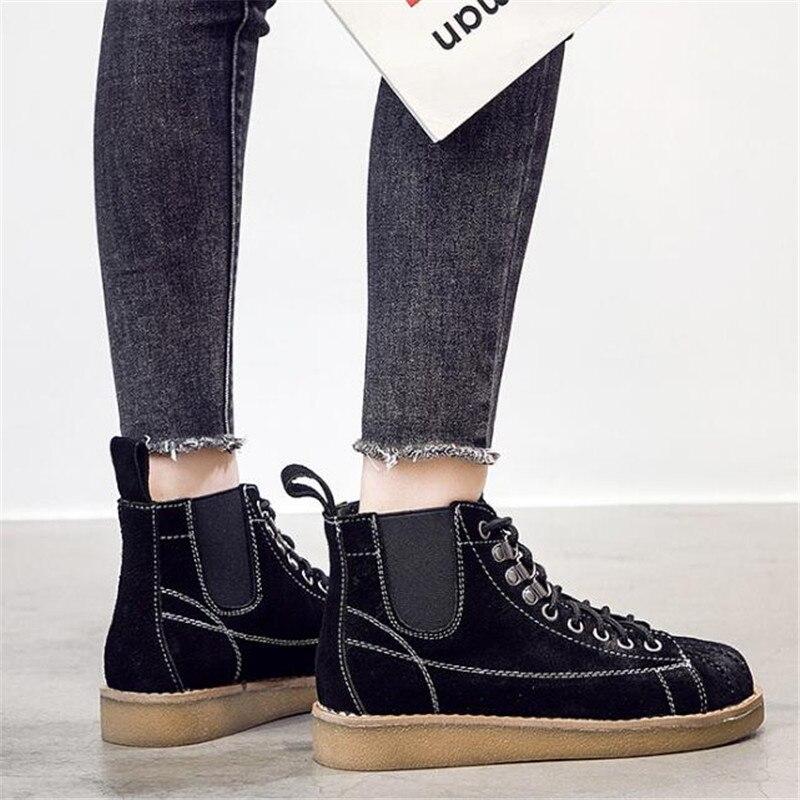 Casual Hiver Véritable En Noir Femmes Bottes Chaussures khaki De Cuir Cheville Martin Mode Zapatos Mujer Femme HqpwxH8v