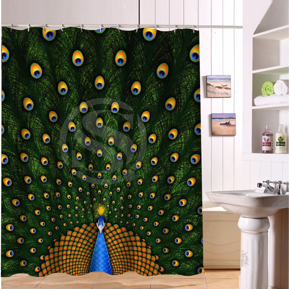 Peacock feather fabric shower curtain quot teal peacock feather quot green - Polyester Bath Curtain Colorfu Animal Peacock Tail Feathers Bathroom Shower Curtains 66 Quot X 72 Quot
