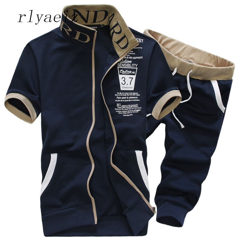 Rlyaeiz Oversized 6XL 7XL Sporting Suit Men Set 2018 Summer Men Tracksuit Printed Hoodies And Shorts Sets Men's Sweat Suit