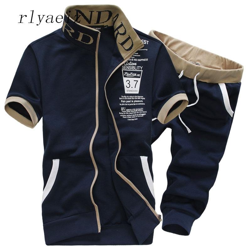 Rlyaeiz Oversized 6XL 7XL Sporting Suit Men Set 2018 Summer Men Tracksuit Printed Hoodies And Shorts Sets Men's Sweat Suit