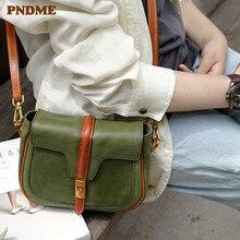 PNDME handmade green genuine leather ladies shoulder bag hit color cowhide leather female retro women small diagonal cross bag