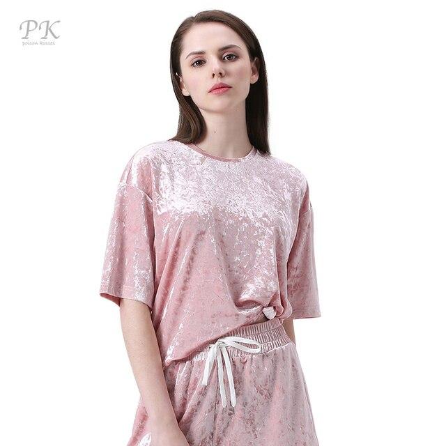 3e022506 PK pink velvet t-shirt women femme 2018 veludo rock velvet womens tops  metallic feeling punk t shirt women velvet top feminist