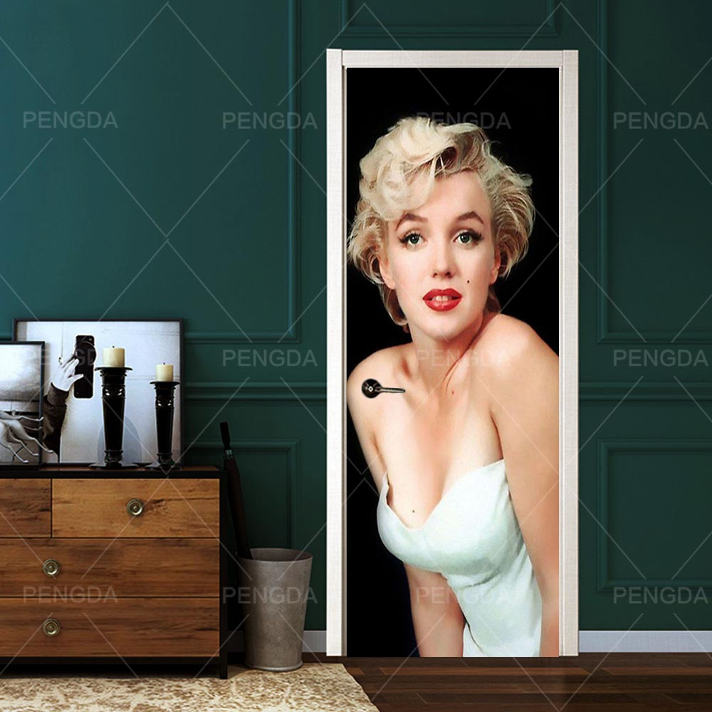 Wallpapers Renovation Marilyn Monroe Self Adhesive 3D DIY PVC Stickers Door Waterproof Home Decoration Decal Print Art Picture