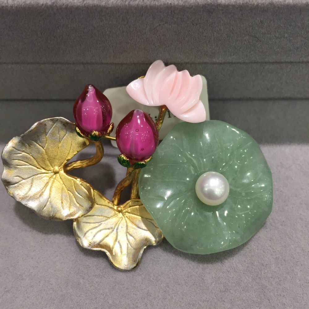 china ethnic lotus leaf and lotus flower brooch pins natural fresh water pearl and shell fashion women jewelry free shipping