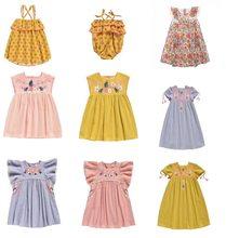 21657997b22ec 2019 LM D été Floral Bébé Filles Beige robe de lin Ruches Parti Manches  Boutique Fleur robe de broderie pour robe pour filles Vê..