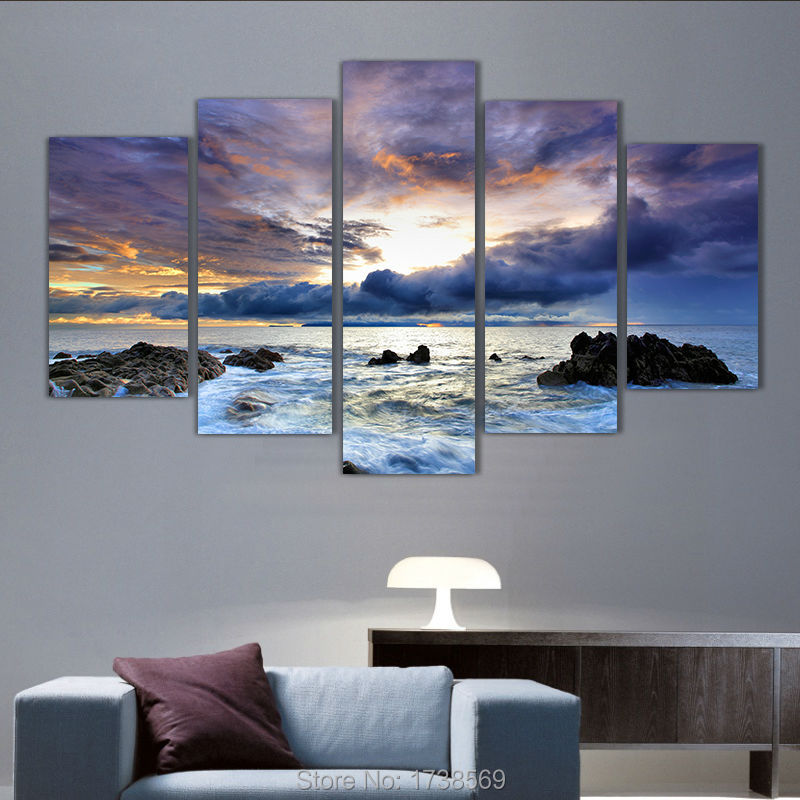 new 5 piece modern home decoration wall decor art picture for living room ocean seascape canvas