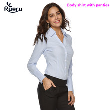 Ruoru Body Shirt Women Blouses Blusas Blusa Casual Blouse Shirts White Blue Long Sleeve Tops Bodysuit Clothing Office
