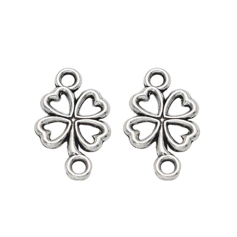 Antique Silver Plated Clover Connector for Jewelry Making Bracelet Necklace DIY Handmade Craft 20x13mm 30pcs/pcs a035 a delicate handmade silver plated anklet