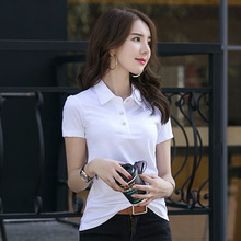 Commuting Solid Office Woman Polo Shirts 5 Colors  Drop Shipping