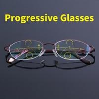 12365da9b High Quality Progressive Reading Glasses Women Bifocal Lens Reader Multi  Focal Addition Eyeglasses Half Frame Presbyopia. Alta Qualidade Mulheres Óculos  de ...