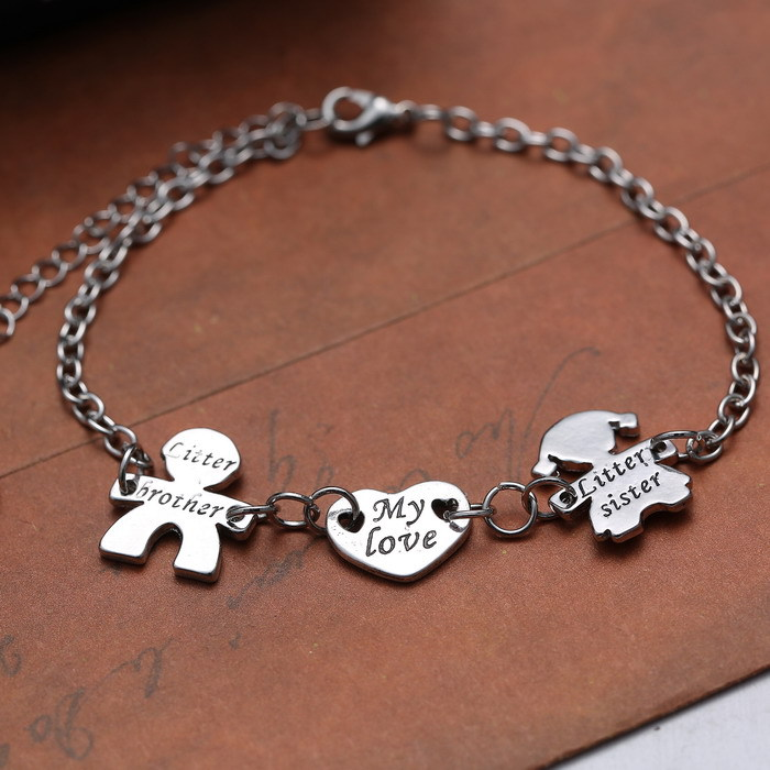 Mon Amour Avec Frère Sœur coeur bracelet réglable Lettres Femmes Charms Bracelets  Argent bracelet bracelets pour femmes hommes dans Charme Bracelets de