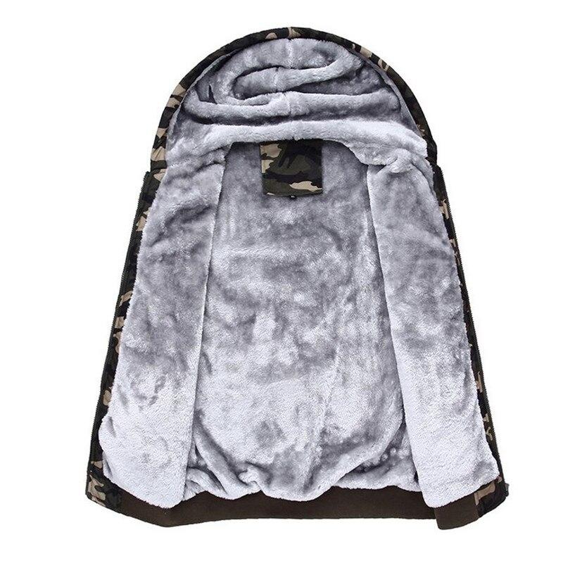 Winter Warm Camouflage Hoodies Sweatshirts Men Casual Thick Velvet Tracksuit Men Fleece Cardigans Hooded Coat Male Moletom 4XL