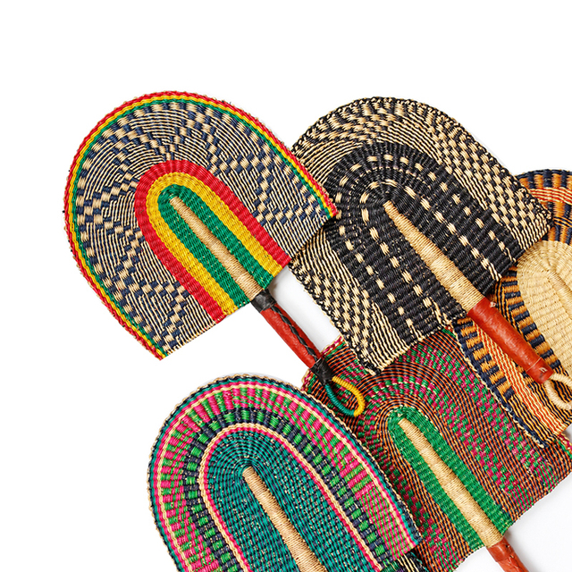 Handmade natural grass weave decorative fan leather handle Mandala ...