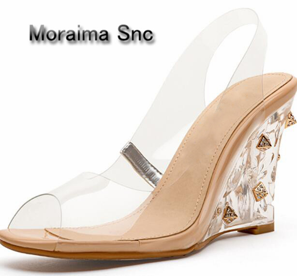 Moraima Snc PVC Transparent shallow peep toe blinking high wedge sling back sandals for woman Casual style in summer free shipMoraima Snc PVC Transparent shallow peep toe blinking high wedge sling back sandals for woman Casual style in summer free ship