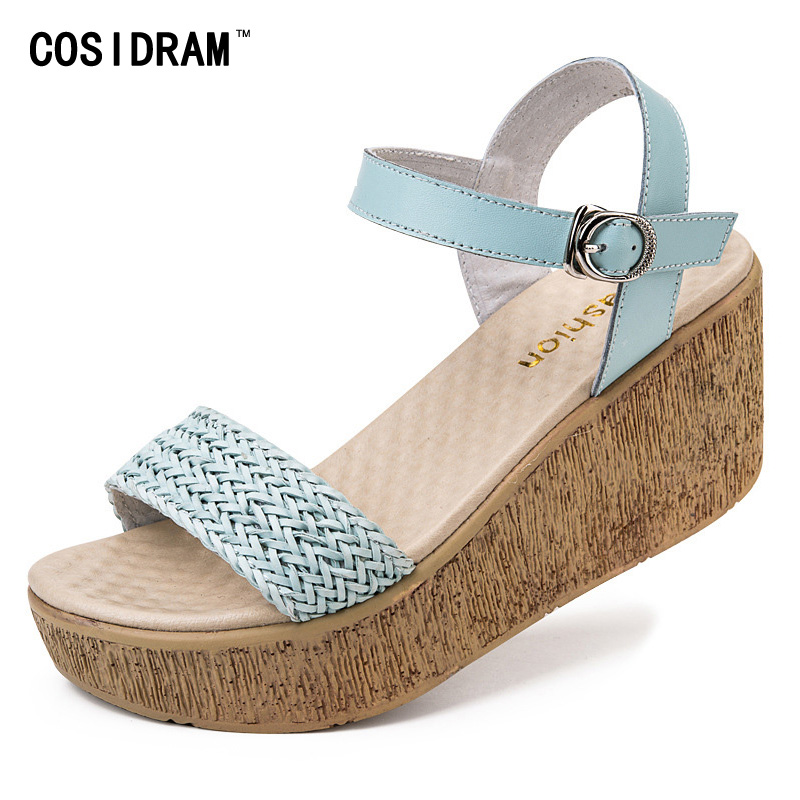 Platform Wedges Women Sandals Buckle Split Leather Summer Women Shoes 2017 Fashion Casual Beach Shoes Ladies Sandalias SNE-515 phyanic 2017 gladiator sandals gold silver shoes woman summer platform wedges glitters creepers casual women shoes phy3323