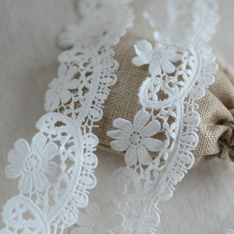 5M Vintage White Cotton Crochet Lace Trim Wedding Bridal Ribbon Sewing Craft DIY