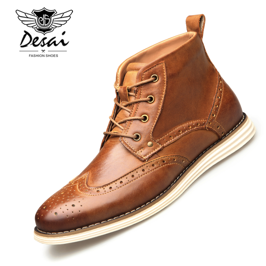 DESAI Genuine Leather Men Boots Vintage Style High Cut Lace Up Shoes Men Fashion Casual Brogue High Boots EUR Size 8 13