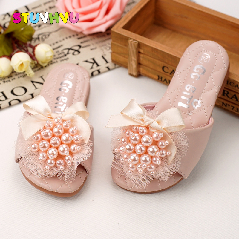 Toddler Girl Summer Shoes Children's Sandals Fashion Girls Beaded Lace Bow Slippers Non-slip Soft Comfort House Shoes Pink Beige