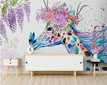 beibehang Custom aesthetic papel de parede 3d wallpaper Nordic minimalist hand-painted giraffe floral wall decorative painting