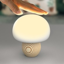 Cute Mini LED Mushroom Lamp Light Magnetic USB Night Lights Touch Sensor Atmosphere Lamp Soft Baby Child Sleeping Bedside Lamp