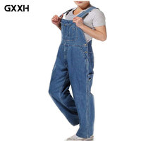 Hot 2018 Men's Plus Size 26 44 46 Overalls Large Size Huge Denim Bib Pants Fashion Pocket Jumpsuits Male Free Shipping Brand