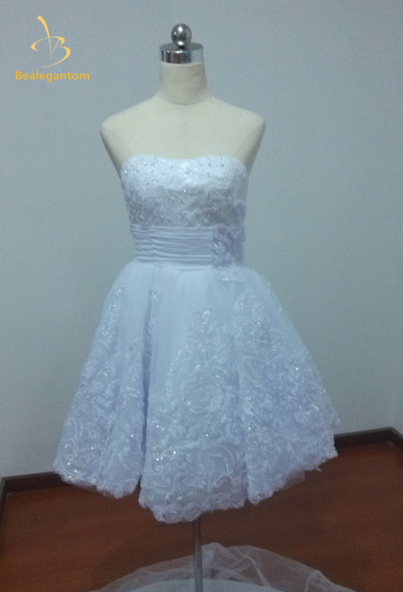 Bealegantom New Elegant Short White Lace Wedding Dresses 2018 ...
