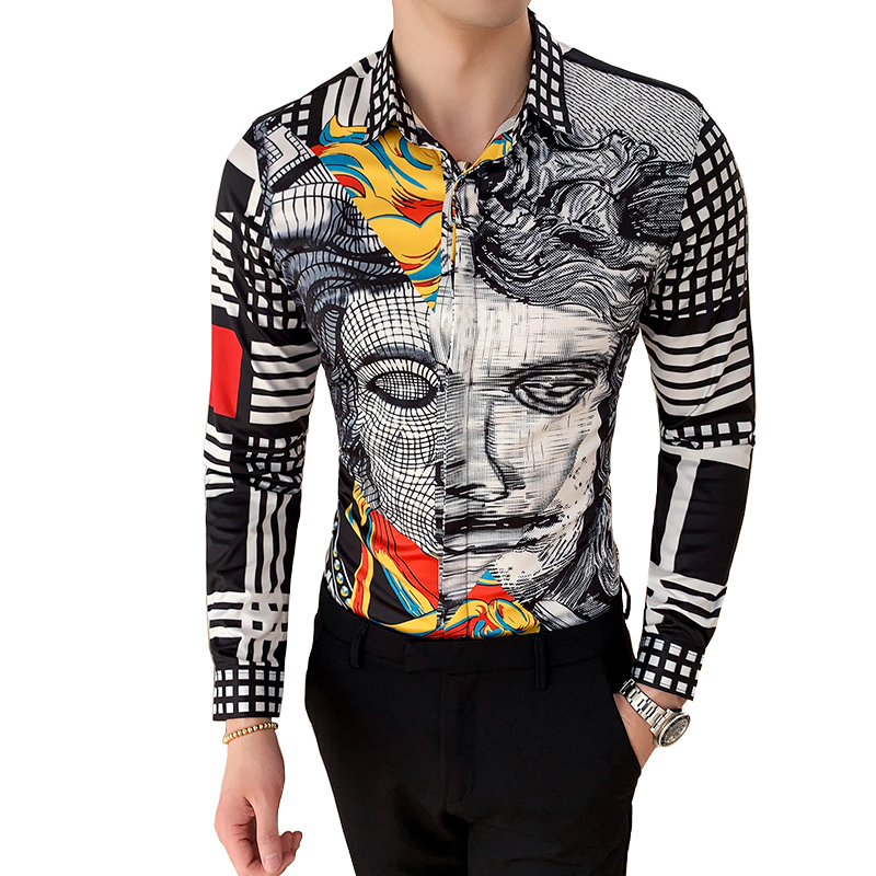 6XL 19 Colour Fashion Boutique Print Casual Slim Fit Mens Long-sleeved Shirt / High-end Social Brand Social Men Club Prom Shirt