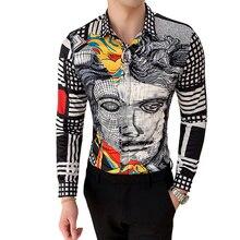 6XL 19 Colour Fashion Boutique Print Casual Slim Fit Mens Long-sleeved Shirt / H
